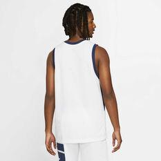 Nike Mens Dri-FIT Basketball Jersey White/Blue S, White/Blue, rebel_hi-res