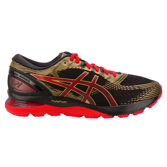 Asics GEL Nimbus 21 Mens Running Shoes, Black / Red, rebel_hi-res