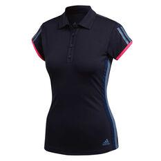 adidas Womens 3 Stripes Club Tennis Polo Navy XS, Navy, rebel_hi-res
