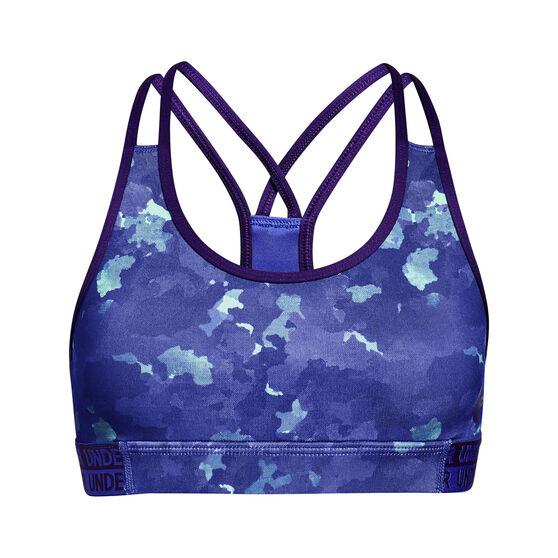Under Armour Girls HeatGear Armour Novelty Sports Bra Purple XL, Purple, rebel_hi-res