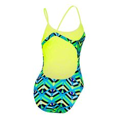 Speedo Womens Surf High Leg One Piece Swimsuit Blue / Green 6, Blue / Green, rebel_hi-res