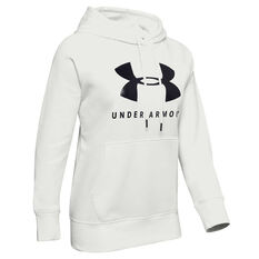 Under Armour Womens Rival Fleece Sportstyle Graphic Hoodie White XS, White, rebel_hi-res