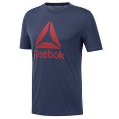 Reebok Mens Workout Ready Supremium Tee Navy S, Navy, rebel_hi-res