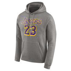 71c68a5b278c Nike Mens LA Lakers LeBron James NBA Hoodie Grey   Purple S