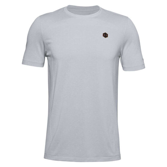 Under Armour Mens Rush Seamless Fitted Training Tee, Grey, rebel_hi-res