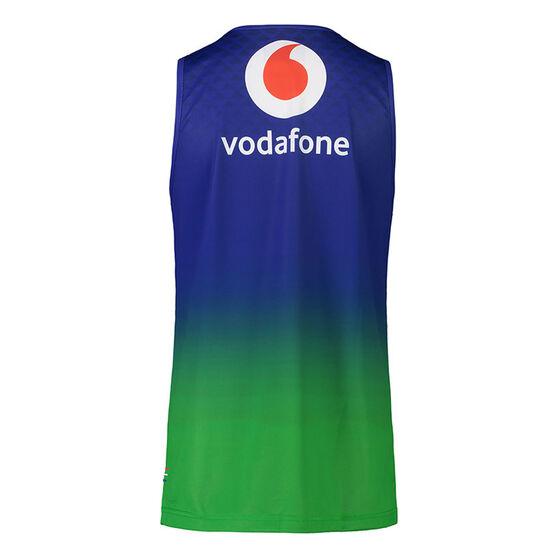 New Zealand Warriors 2021 Mens Training Singlet, Blue, rebel_hi-res