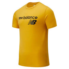 New Balance Mens Classic Logo Tee, Mustard, rebel_hi-res