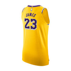 Nike Los Angeles Lakers LeBron James Mens Icon Edition Authentic Jersey Yellow / Purple 40, Yellow / Purple, rebel_hi-res