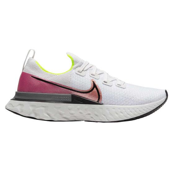 Nike React Infinity Run Flyknit Mens Running Shoes White / Pink US 8, White / Pink, rebel_hi-res