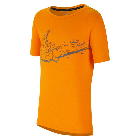 Nike Breathe Boys Short Sleeve Training Top Orange / Grey S, Orange / Grey, rebel_hi-res