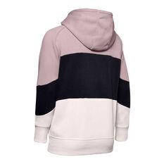 Under Armour Womens Rival Colourblock Fleece Hoodie Pink / Black XS, Pink / Black, rebel_hi-res