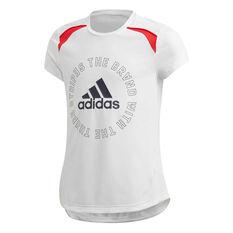 adidas Girls Aeroready Bold Tee White/Navy 6, White/Navy, rebel_hi-res
