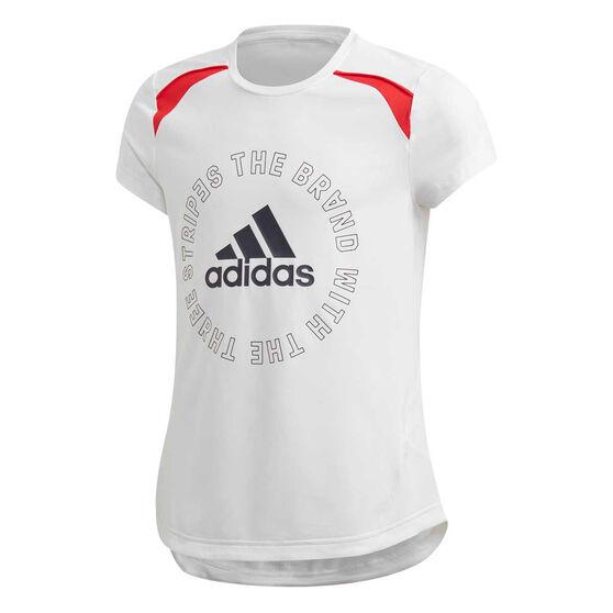 adidas Girls Aeroready Bold Tee, White/Navy, rebel_hi-res