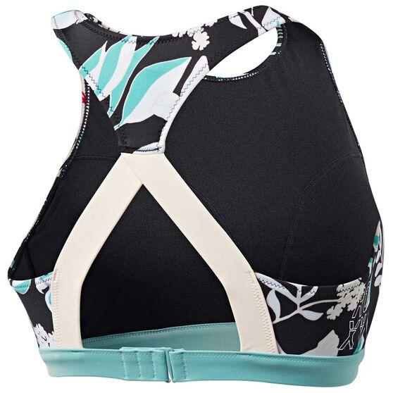 Roxy Womens Fitness Crop Top, Black / Print, rebel_hi-res