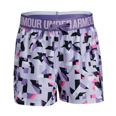 Under Armour Girls Play Up Printed Shorts Purple XS, Purple, rebel_hi-res