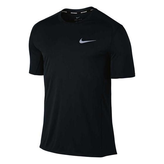 Nike Mens Dry Miler Running Tee Black / Silver S, Black / Silver, rebel_hi-res