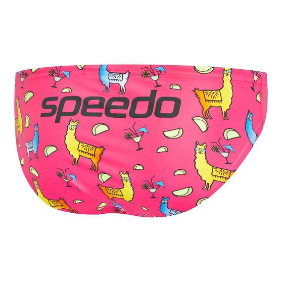 Speedo Mens Escape Taco Tuesday 5cm Swim Briefs, Pink, rebel_hi-res