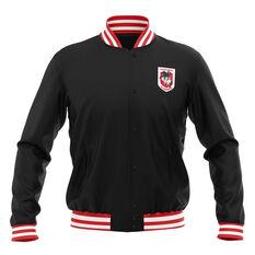 St George Illawarra Dragons 2019 Mens Club Varsity Jacket Black S, Black, rebel_hi-res