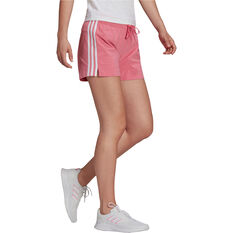 adidas Womens Essentials Slim 3-Stripes Shorts, Pink, rebel_hi-res