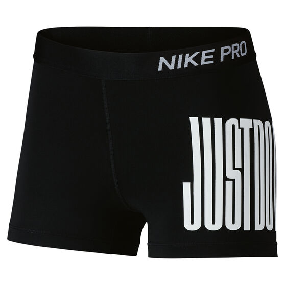 Nike Womens Pro Just Do It 3in Shorts, Black / White, rebel_hi-res