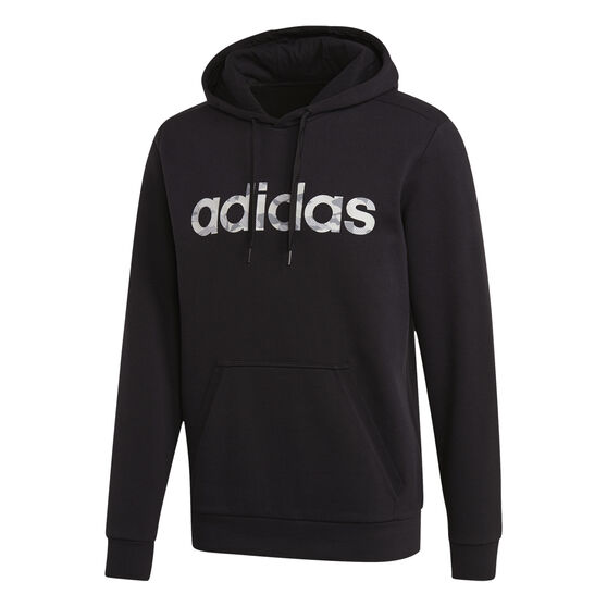 adidas Mens Essentials Camo Linear Hoodie, Black / White, rebel_hi-res