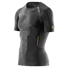 Skins Mens A400 Gold Compression Short Sleeve Top Black / Gold XS Adult, Black / Gold, rebel_hi-res