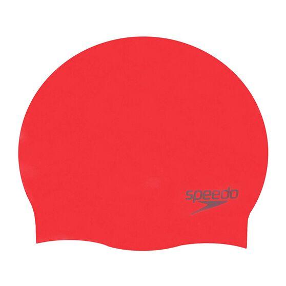 Speedo Plain Moulded Silicone Swim Cap Red, Red, rebel_hi-res