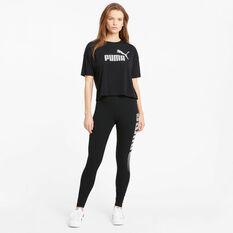 Puma Womens Essentials Cropped Logo Tee, Black, rebel_hi-res