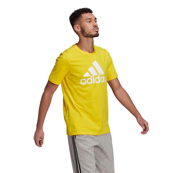 adidas Essentials Mens Big Logo Tee, Yellow, rebel_hi-res