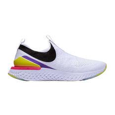 Nike Epic React Phantom Flyknit Womens Running Shoes White / Black US 6, White / Black, rebel_hi-res