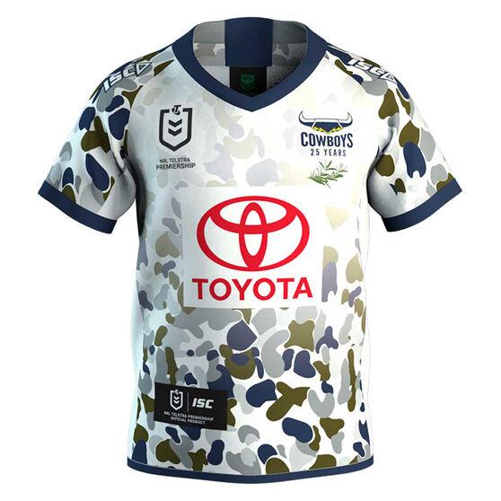 North Queensland Cowboys 2020 Kids Defence Jersey, White, rebel_hi-res