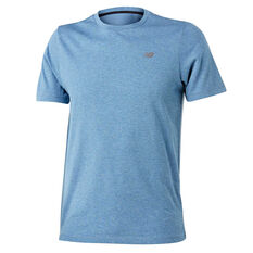 New Balance Mens Heather Tech Tee Blue S, Blue, rebel_hi-res