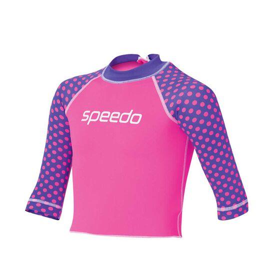 Speedo Toddler Girls Logo Long Sleeve Sun Top, Pink / Purple, rebel_hi-res
