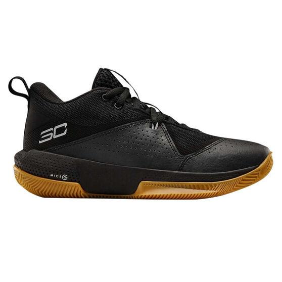 Under Armour SC 3ZERO IV Kids Basketball Shoes, Black/Gum, rebel_hi-res