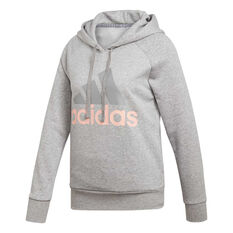 adidas Womens Essentials Linear Hoodie Grey / Coral XS, Grey / Coral, rebel_hi-res