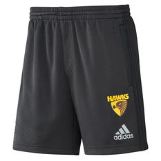 Hawthorn Hawks 2019 Mens Training Shorts Black / Yellow S, Black / Yellow, rebel_hi-res