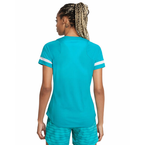 Nike Womens Dri-FIT Academy 21 Football Tee, Blue, rebel_hi-res
