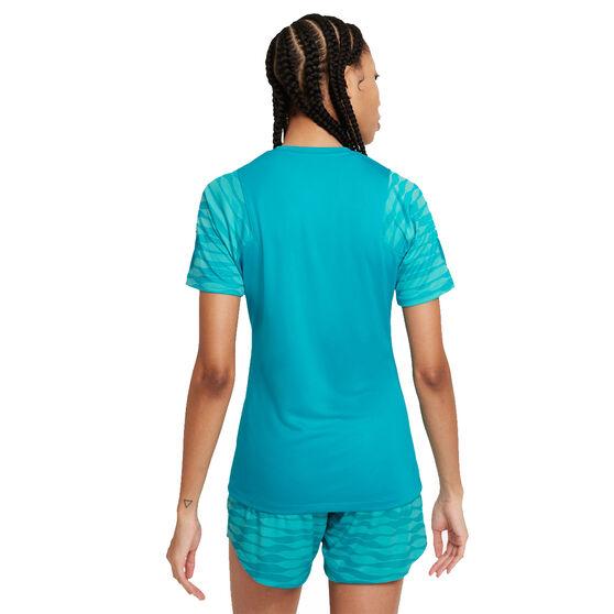 Nike Womens Dri-FIT Strike Short Sleeve Soccer Tee, Blue, rebel_hi-res