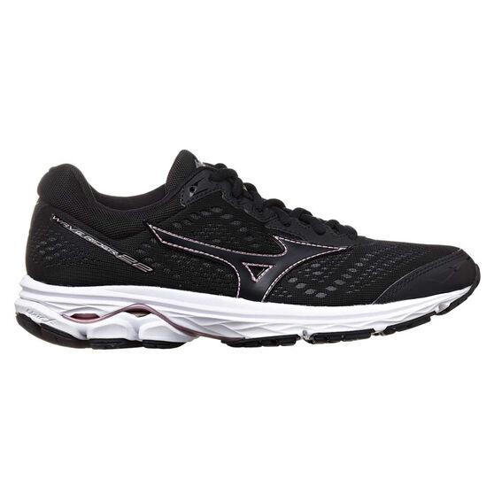 Mizuno Wave Rider 22 Womens Running Shoes, Black / Rose Gold, rebel_hi-res