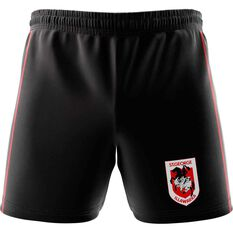 St George Illawarra Dragons Mens Club Fleece Shorts Black, Black, rebel_hi-res