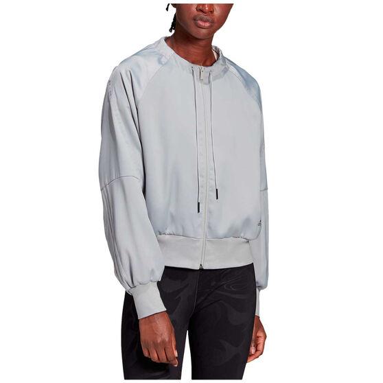 adidas Womens Glam On Bomber Jacket Grey XL, Grey, rebel_hi-res