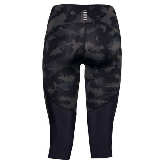 Under Armour Womens Fly Fast Printed Capri Tights, Black, rebel_hi-res