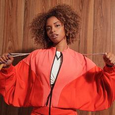 adidas Karlie Kloss Womens Cover Up Jacket Orange XS, Orange, rebel_hi-res