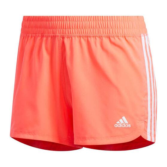 adidas Womens Pacer 3-Stripes Shorts, Orange, rebel_hi-res