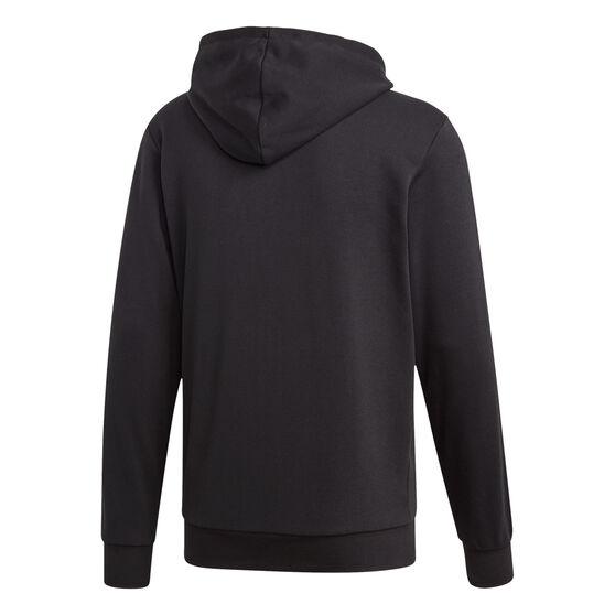 adidas Mens Essentials 3-Stripes Full Zip French Terry Hoodie, Black / White, rebel_hi-res