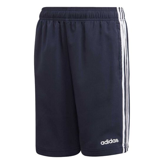 adidas Boys Essentials 3-Stripes Woven Shorts, Navy / White, rebel_hi-res