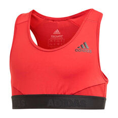 adidas Girls Alphaskin Sports Bra Maroon / Black 6, Maroon / Black, rebel_hi-res