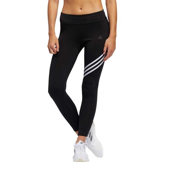 adidas Womens 3-Stripes Run It 3-Stripes 7/8 Tights, Black, rebel_hi-res
