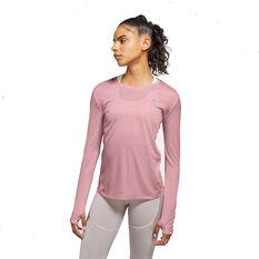 Nike Womens Miler Long Sleeve Tee Pink XS, Pink, rebel_hi-res