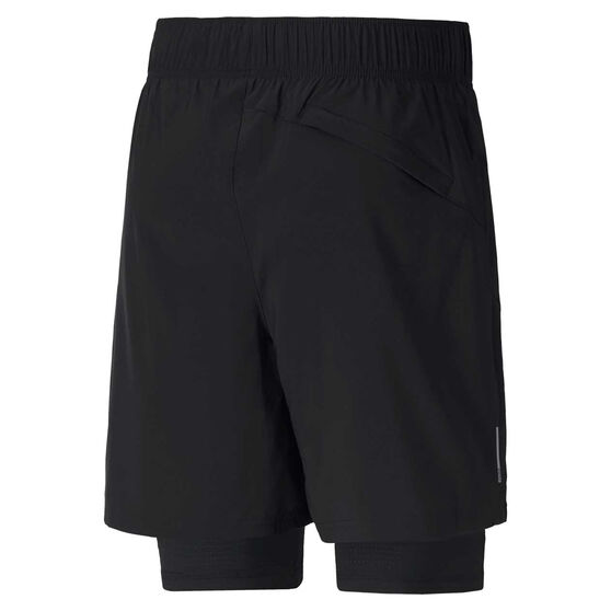 Puma Mens Favourite 2 in 1 Running Shorts Black S, Black, rebel_hi-res